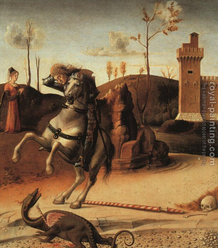 Giovanni Bellini : Pesaro Altarpiece, detail of the predella featuring St. George Fighting the Dragon