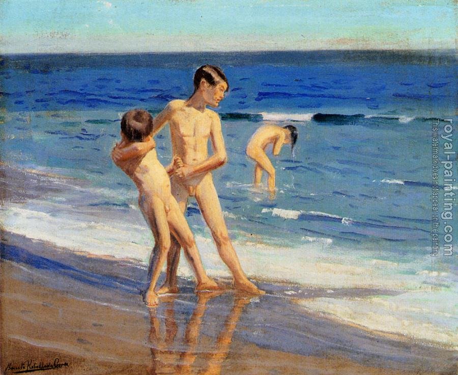 Benito Rebolledo Correa : Boys At The Beach