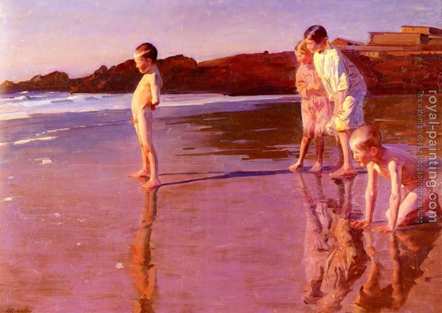 Benito Rebolledo Correa : Children On The Beach At Sunset, Valencia
