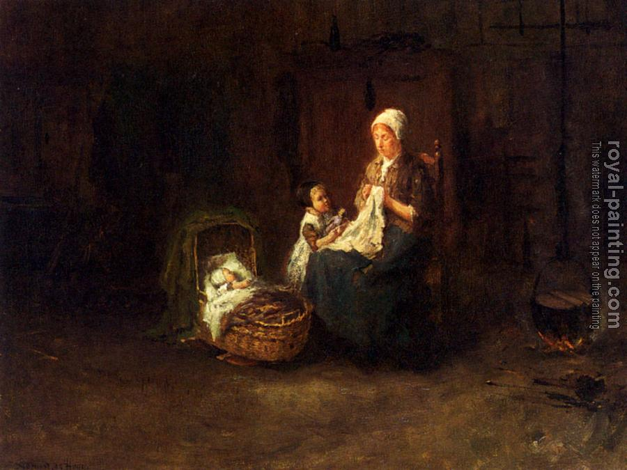 Bernard De Hoog : A Mother And Her Children In An Interior