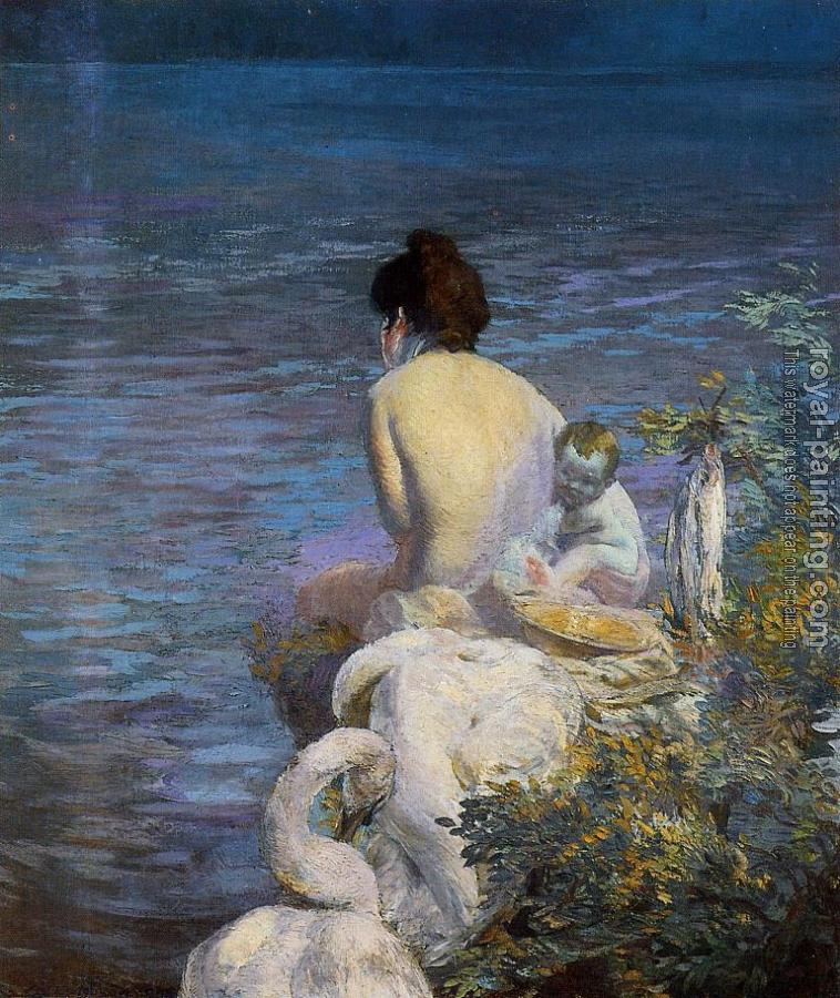 Paul Albert Besnard : Bather with Child and Swan by the Sea