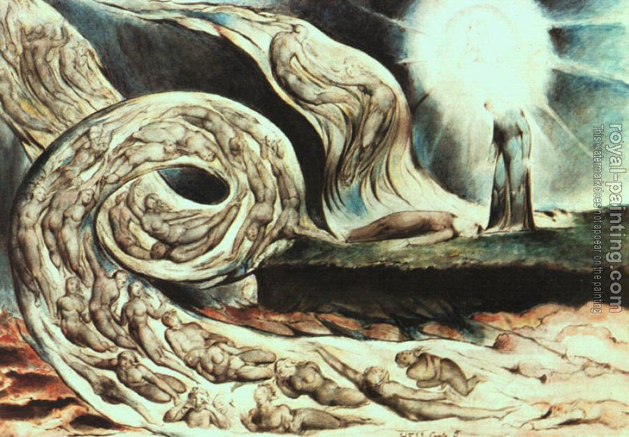 William Blake : Whirlwind of Lovers (Illustration to Dante's Inferno)