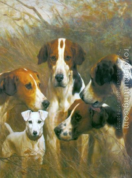 foxhound terrier foxhounds and a hunt terrier by thomas blinks oil 7921