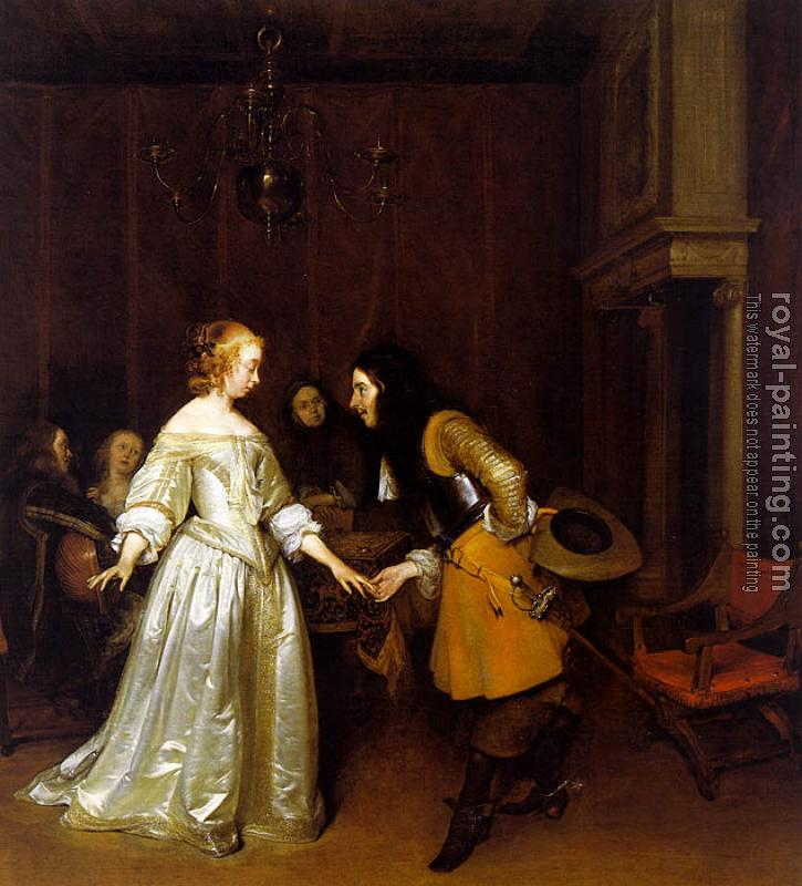 Gerard Ter Borch : An Officer Making his Bow to a Lady
