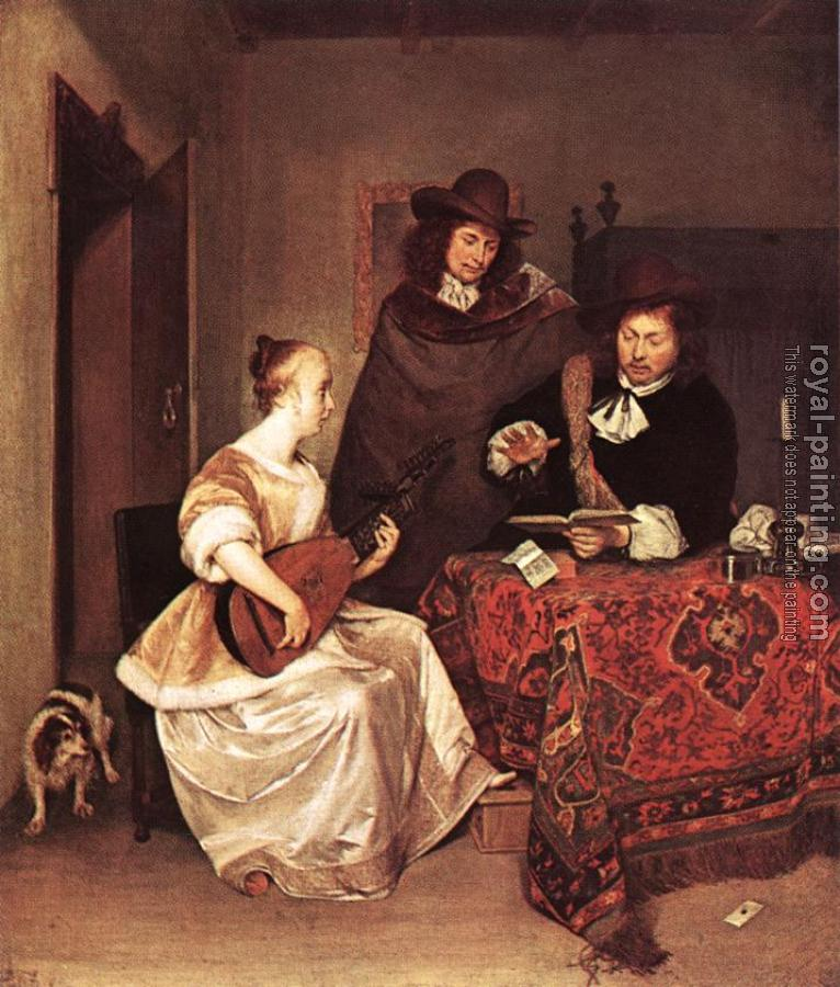 Gerard Ter Borch : A Young Woman Playing A Theorbo To Two Men