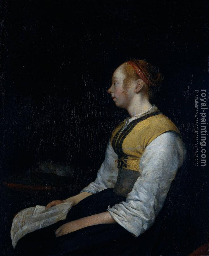 Gerard Ter Borch : Girl in Peasant Costume Probably Gesina the Painter's Half Sister