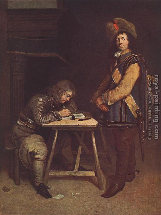 Gerard Ter Borch : Officer Writing A Letter