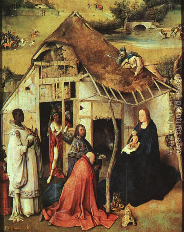Hieronymus Bosch : The Adoration of the Magi, central panel of the Epiphany triptych, detail