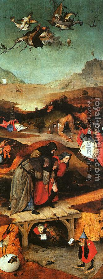 Hieronymus Bosch : Flight and Failure of Saint Anthony, inner-left wing of the triptych The Temptation of St. Anthony