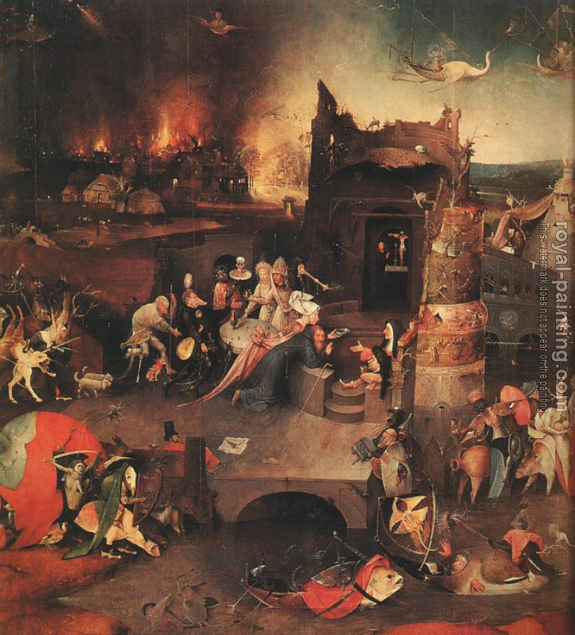 Hieronymus Bosch : The Temptation of St. Anthony, central panel of the triptych The Temptation of St. Anthony