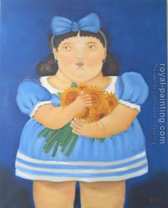 Fernando Botero : Girl with flowers
