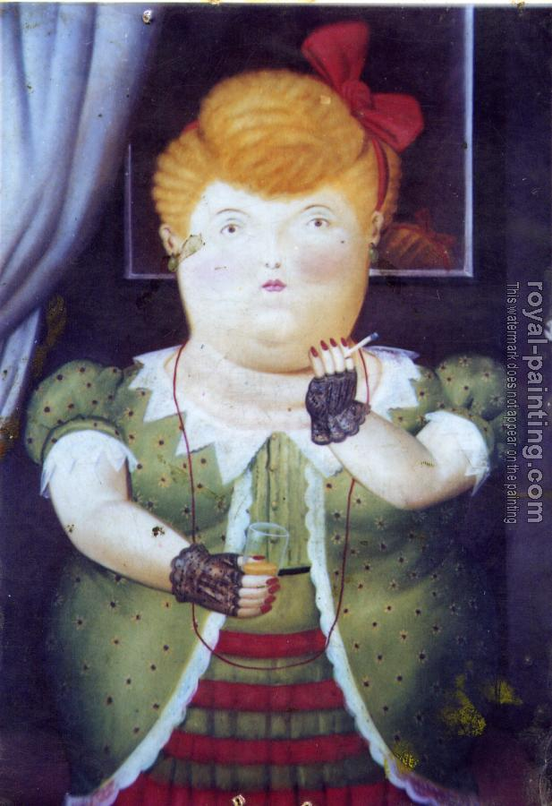 Fernando Botero : Woman With A Red Bow