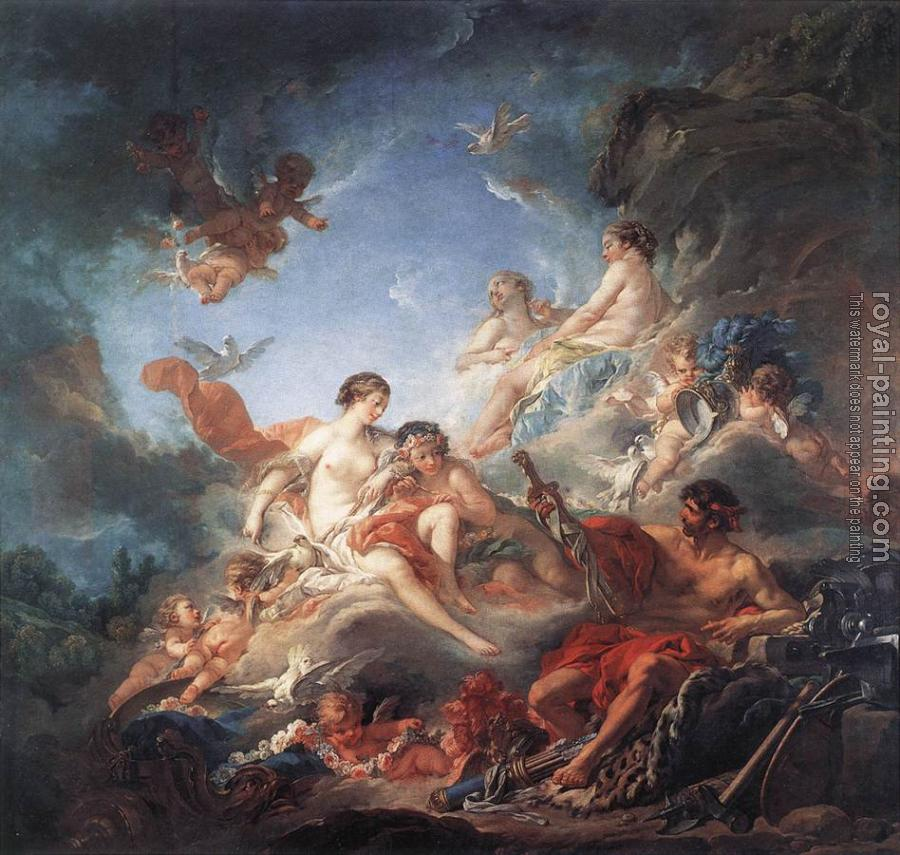 an analysis of venus at vulcans forge a rococo painting by francois boucher