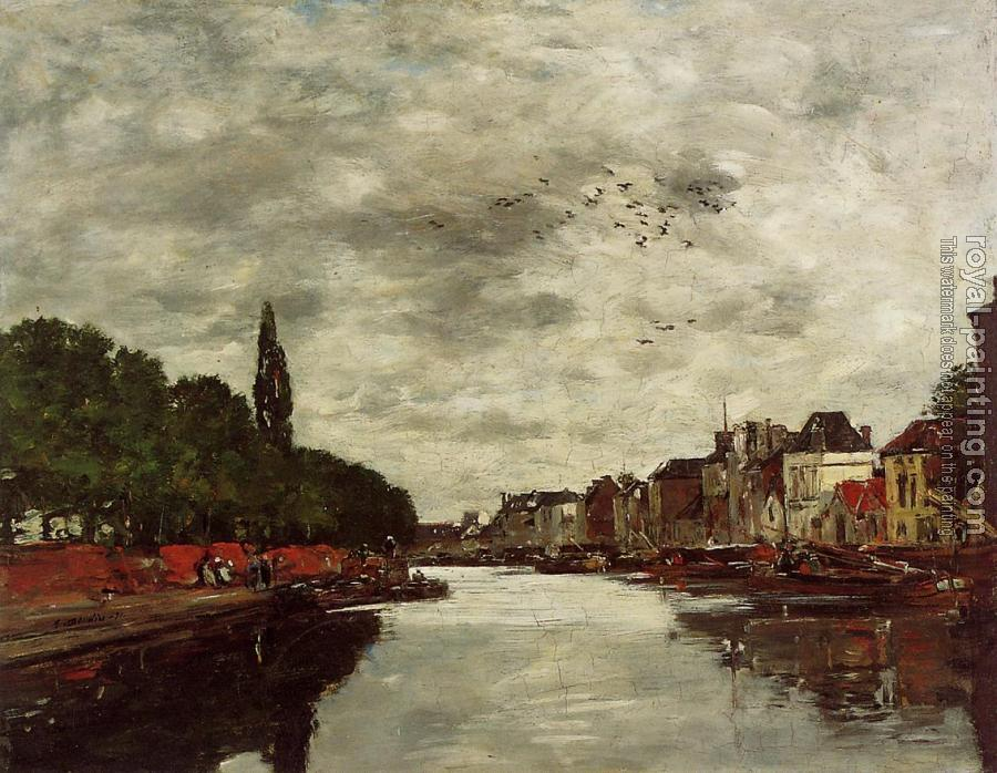 Eugene Boudin : A Canal near Brussels