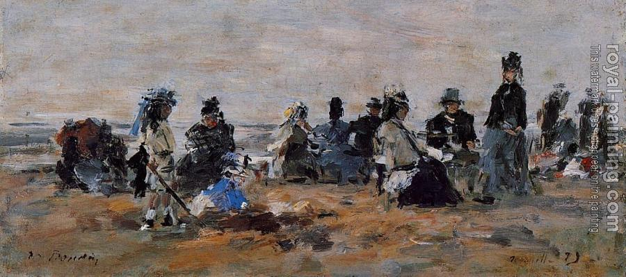 Eugene Boudin : Beach Scene at Trouville, Evening