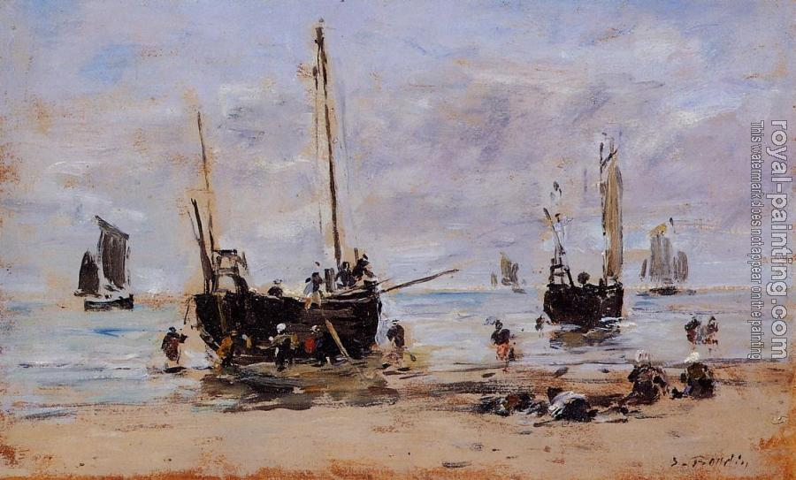 Eugene Boudin : Berck, Fishermen at Low Tide