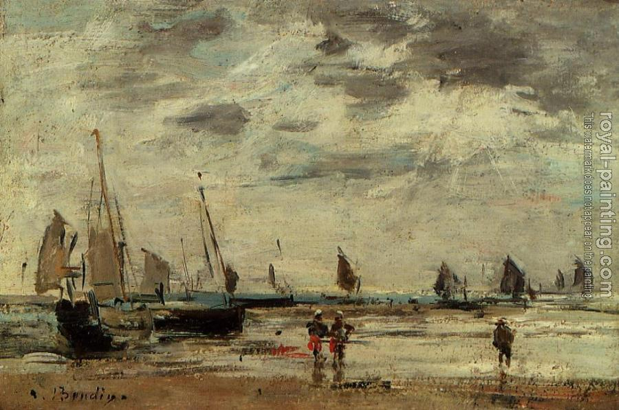 Eugene Boudin : Berck, Jetty and Sailing Boats at Low Tide