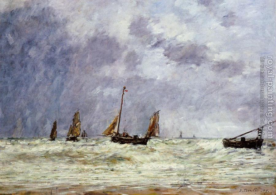 Eugene Boudin : Berck, the Departure of the Boats