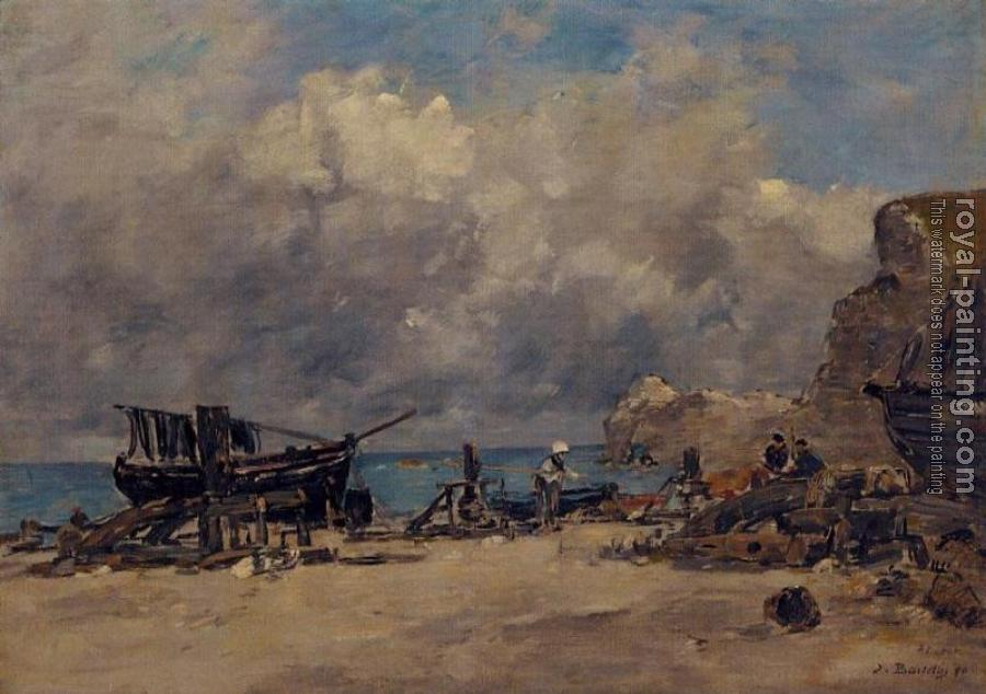 Eugene Boudin : Boats at Etretat