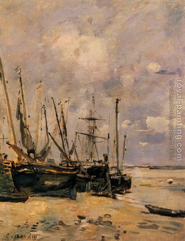 Eugene Boudin : Boats at the Beach at Low Tide
