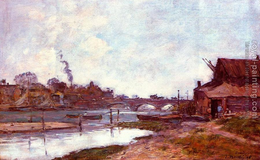 Eugene Boudin : Bridge on the River Touques at Deauville