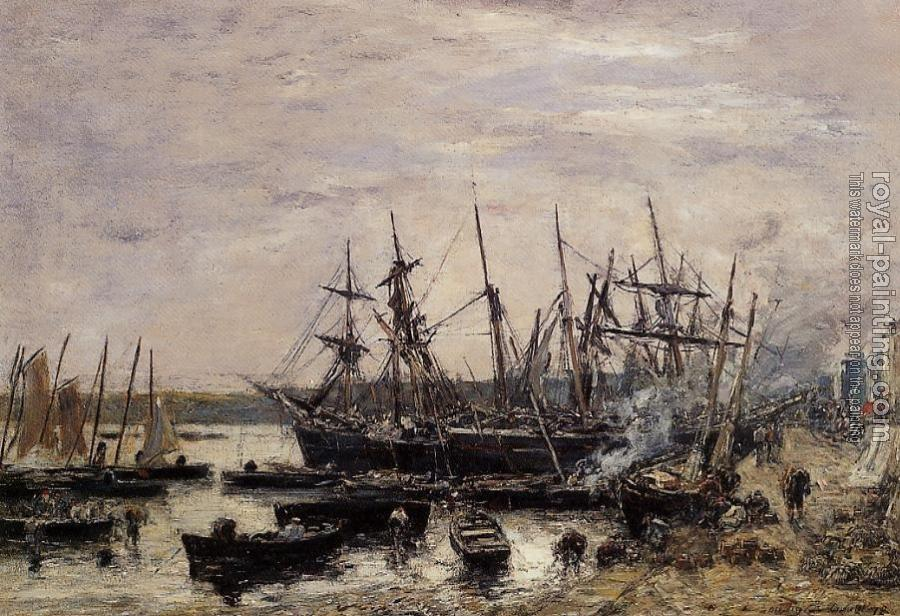 Eugene Boudin : Camaret, Fishing Boats at Dock