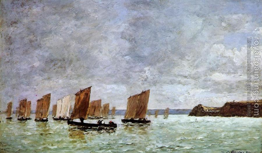 Eugene Boudin : Camaret, Fishing Boats off the Shore
