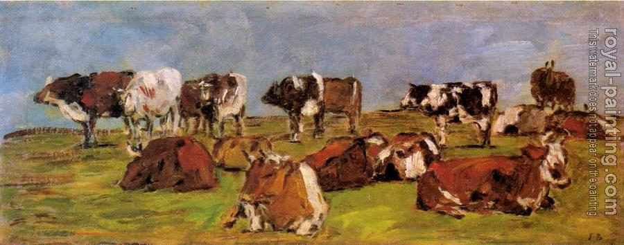 Eugene Boudin : Cows in a Field