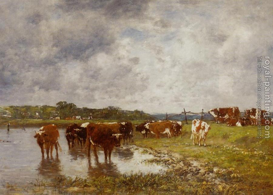 Eugene Boudin : Cows in a Meadow on the Banks of the Toques