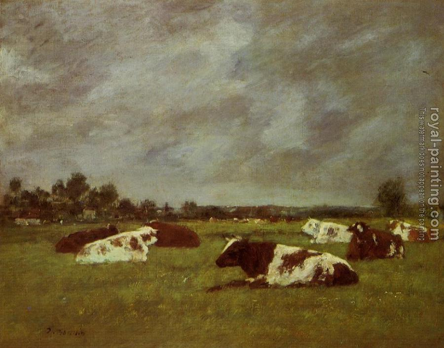 Eugene Boudin : Cows in a Meadow, Morning Effect