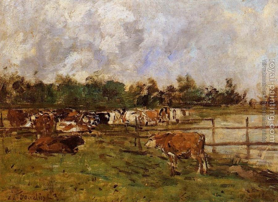 Eugene Boudin : Cows in the Meadow