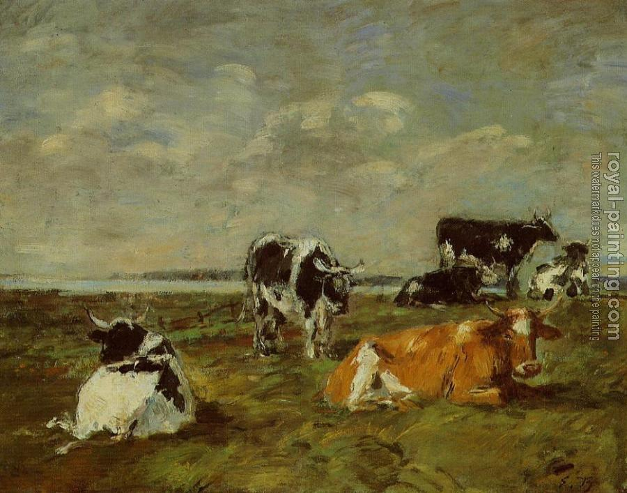 Eugene Boudin : Cows near the Sea