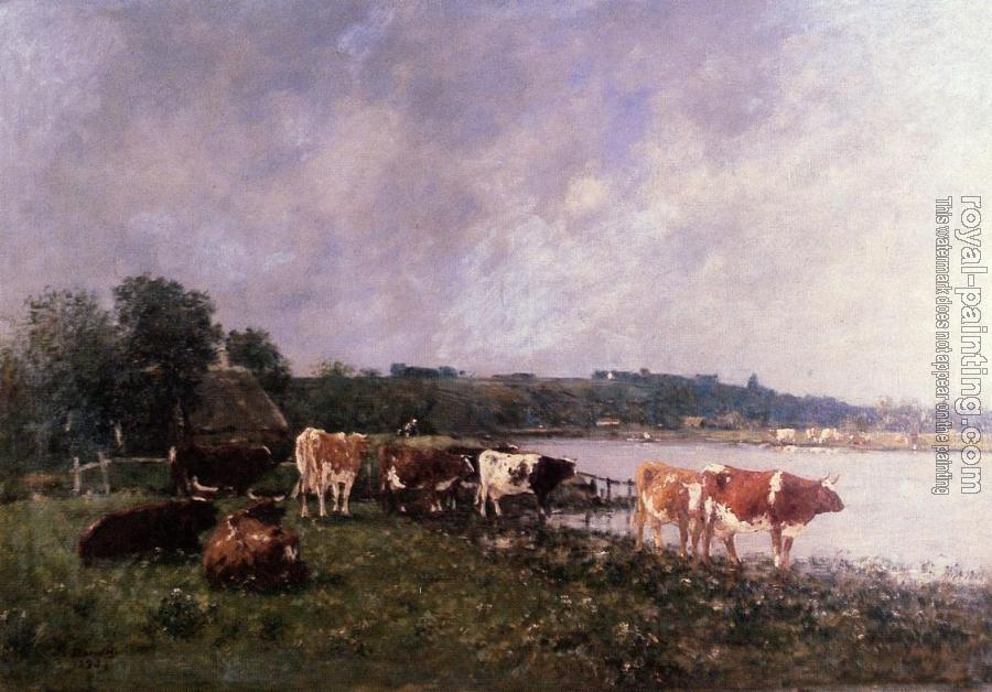 Eugene Boudin : Cows on the Banks of the Touques