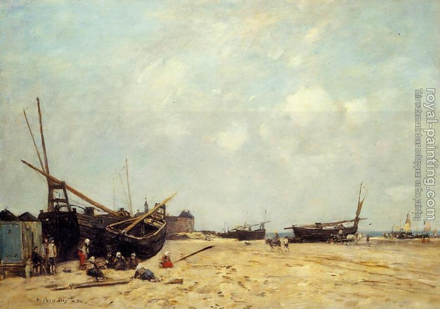Eugene Boudin : Fishing Boats Aground and at Sea
