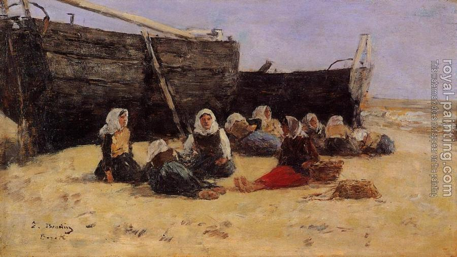 Eugene Boudin : Fishwomen Seated on the Beach at Berck
