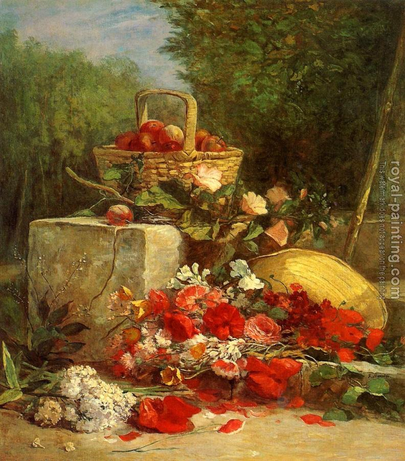 Eugene Boudin : Flowers and Fruit in a Garden