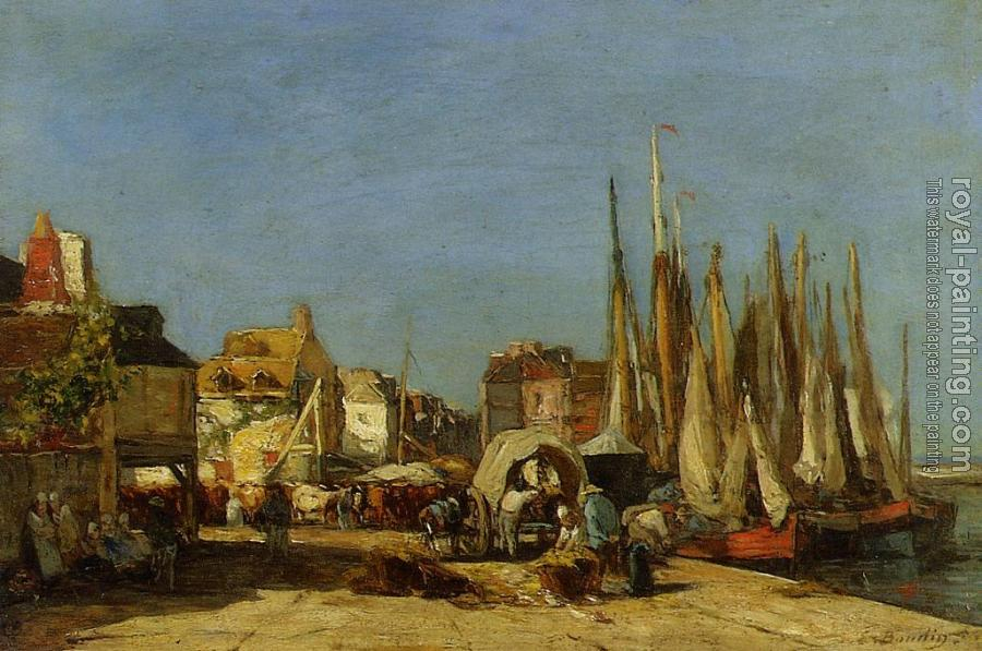 Eugene Boudin : Honfleur, the Quarantine Dock and the Cattle Market