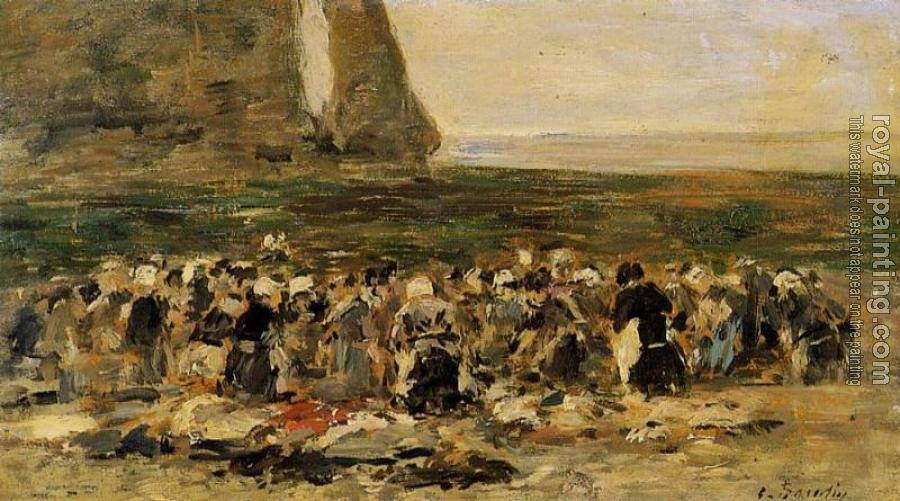 Eugene Boudin : Laundresses at Etretat