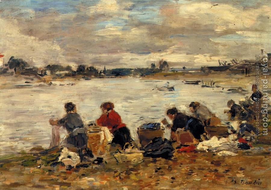 Eugene Boudin : Laundresses on the Bankes of the Touques IX