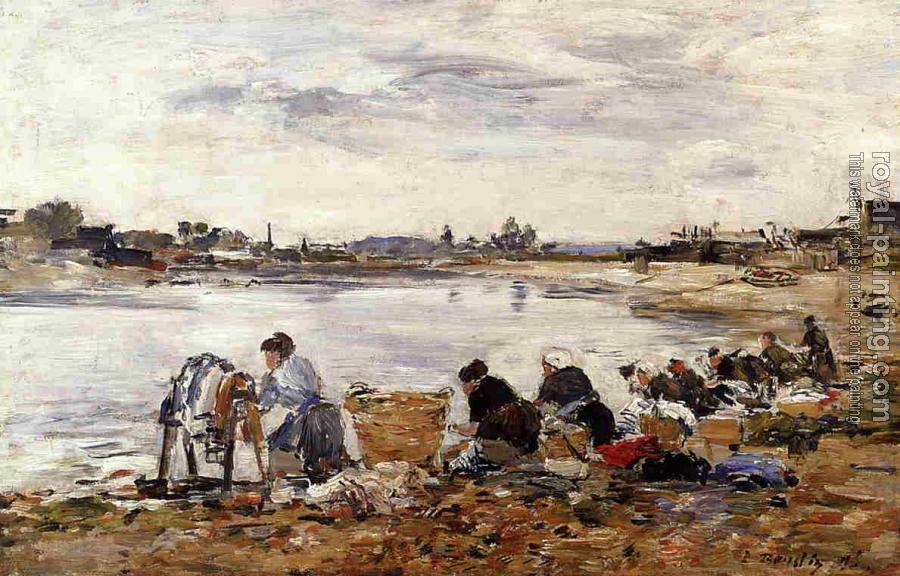 Eugene Boudin : Laundresses on the Bankes of the Touques X