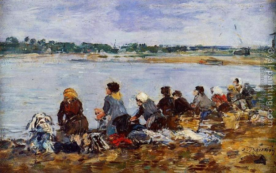 Eugene Boudin : Laundresses on the Bankes of the Touques XI