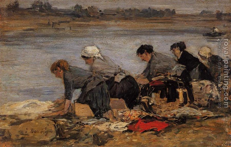 Eugene Boudin : Laundresses on the Bankes of the Touques XII