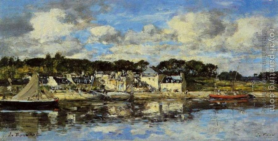 Eugene Boudin : Le Faou, The Village and the Port on the River