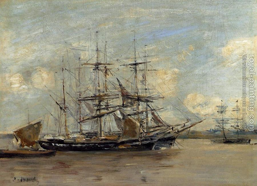 Eugene Boudin : Le Havre, Three Master at Anchor in the Harbor