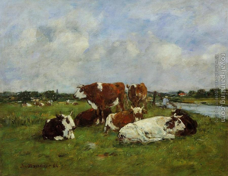 Eugene Boudin : Pasturage on the Banks of the Touques