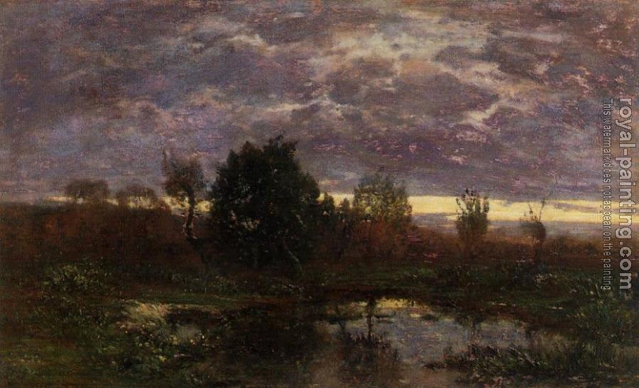 Eugene Boudin : Pond at Sunset