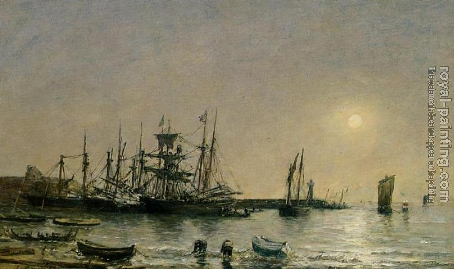 Eugene Boudin : Portrieux, Boats at Anchor in Port