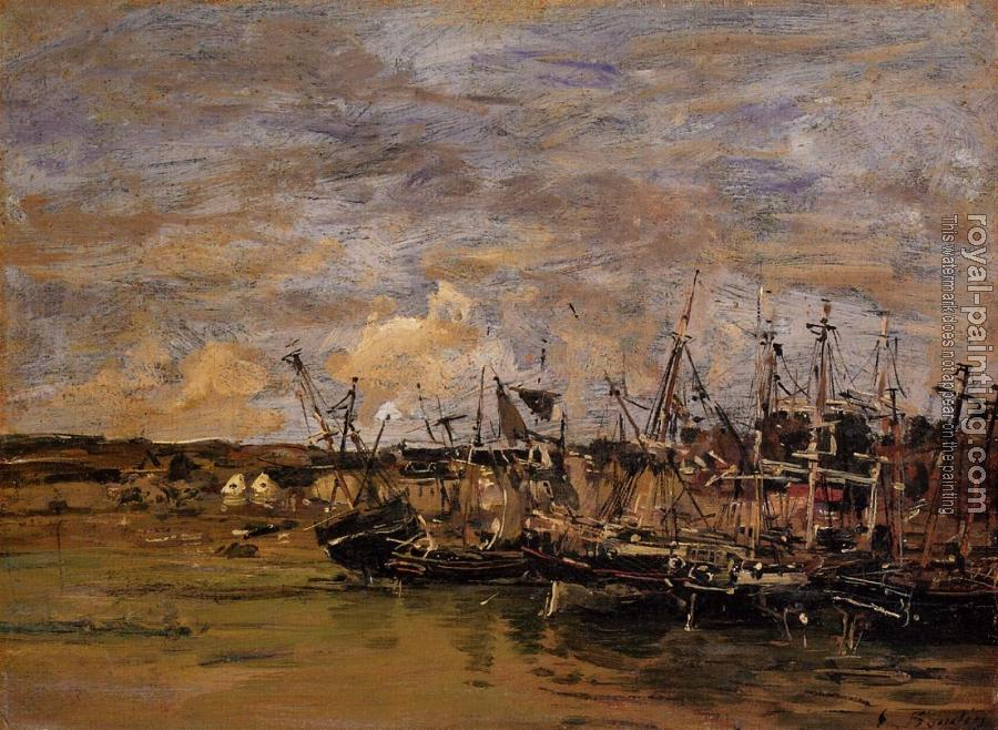 Eugene Boudin : Portrieux, Fishing Boats at Low Tide