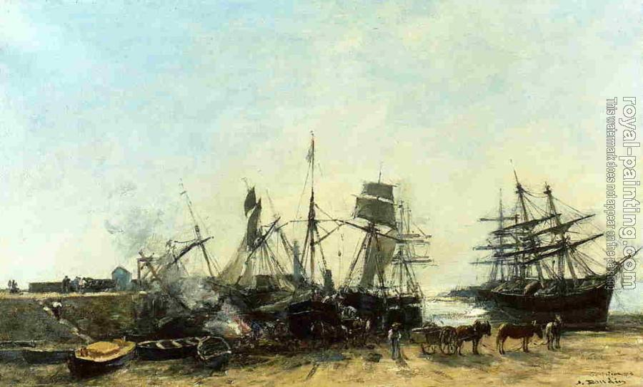 Eugene Boudin : Portrieux, the Port at Low Tide, Unloading Fish