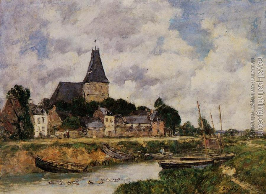 Eugene Boudin : Quillebeuf, View of the Church from the Canal